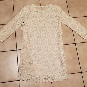 Wilfred Long Sleeve Cream Lace Dress
